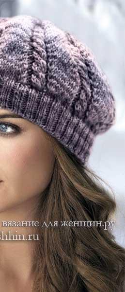 Модные береты спицами - схемы шапки