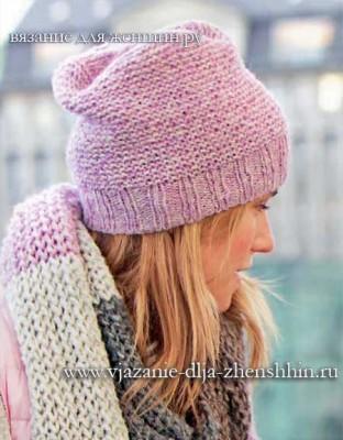 Вязание простой женской шапки спицами