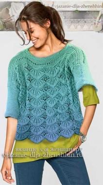 Модный вязаный пуловер спицами для женщин