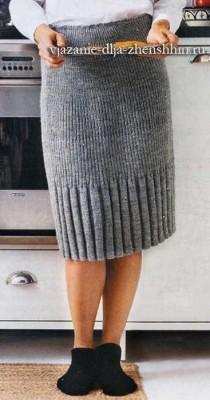 Простая вязаная юбка в резинку спицами для начинающих