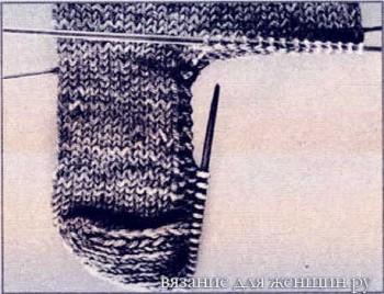 Пятка носка спицами