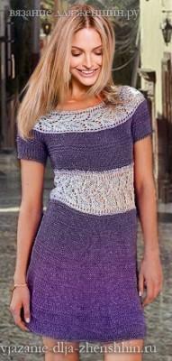 Вязаное платье с листочками