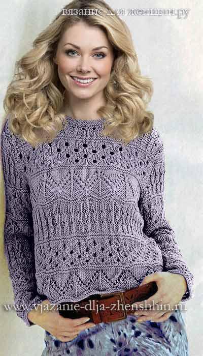 Вязание свитера узорами на спицах 63