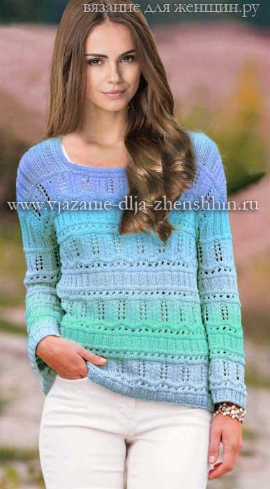 Модная вязаная модель пуловера на весну 2016