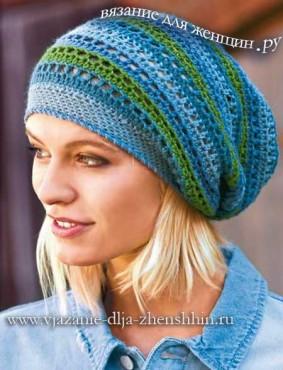 Модные вязаные шапки весна 2017