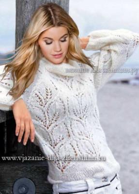 свитер с листьями спицами схемы