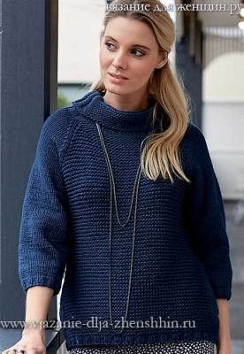 Модные модели 2016-2017 для женщин. Вязаный свитер спицами