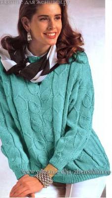 Вязание спицами для женщин свитер с листьями