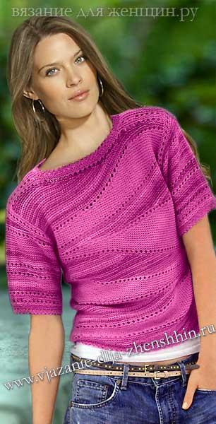 Женский пуловер вязание