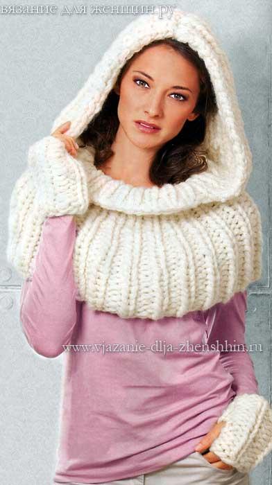 шарфы вязаные спицами женские с описанием и фото