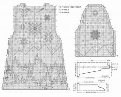 схема вязания платья спицами