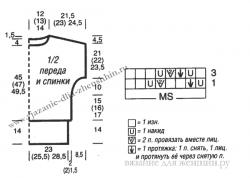 Схема вязания женского пуловера спицами