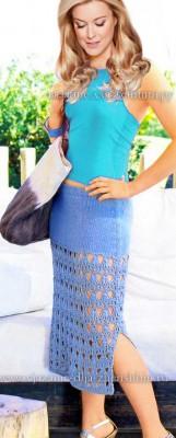 Летняя вязаная юбка спицами