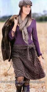 юбка спицами на осень