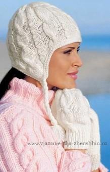 Вязаная шапка спицами с ушками и варежки