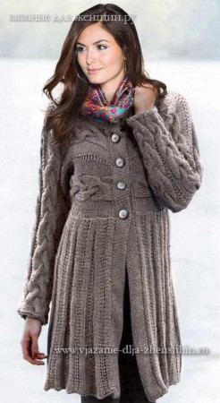 Вязаное пальто на осень 2015