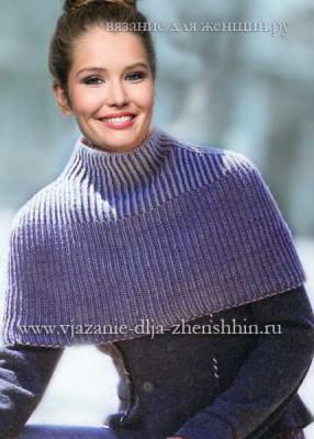 Женское вязаное пончо спицами