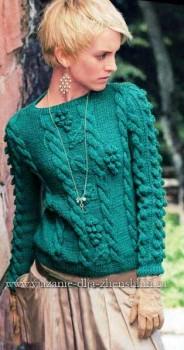 Женский свитер с косами. Вязание спицами