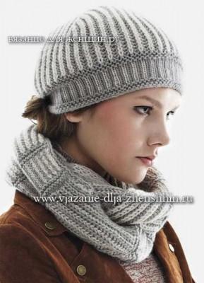 Модная шапочка и шарф спицами 2018 фото и описание