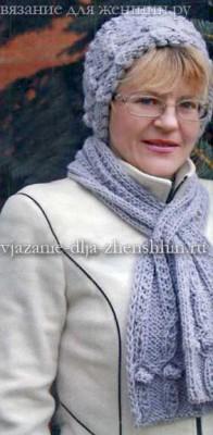 Вязаная шапочка с отворотом и шарф