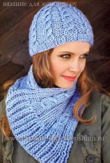 Вязание спицами шапки и шарфа с косами