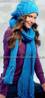 вязаный берет спицами и вязаный шарф