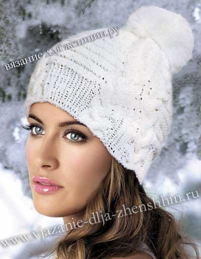 Модная вязаная шапка зима 2016