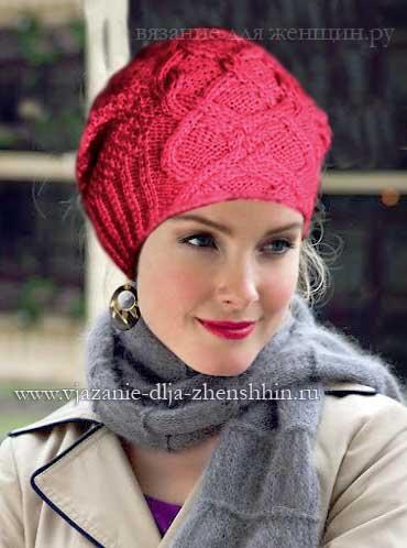 Модная вязаная шапка осень-