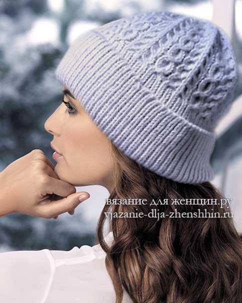 шапка с отворотом спицами