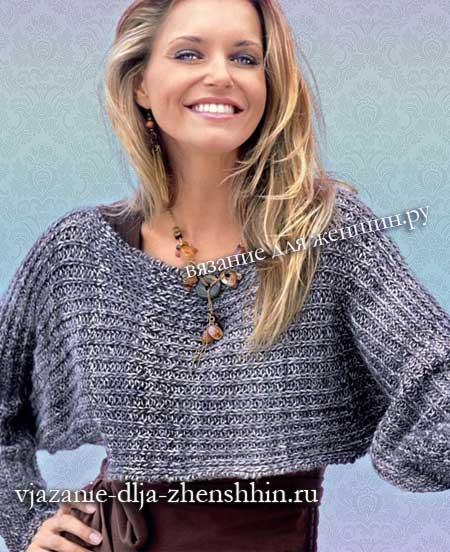 59ef64eb77a Вязание для начинающих женского пуловера полупатентной резинкой