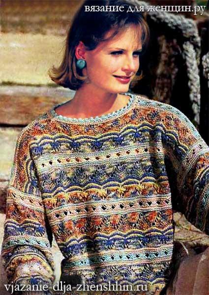 вязаный свитер спицами для женщин схемы вязания свитера с описанием
