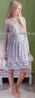 vjazanaja-jubka-s-kosam-i-shishechkami-1 Вязание спицами для женщин. Схемы вязания для женщин 100 моделей