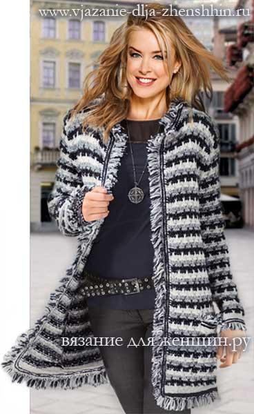 вязание спицами пальто для женщин с описанием и схемами фото