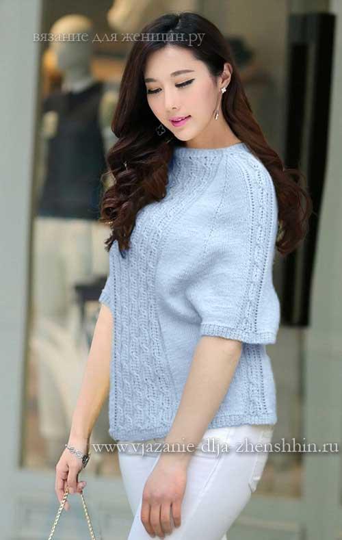 модный женский свитер схемы вязания спицами