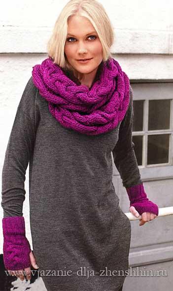 теплый вязаный шарф хомут с косами