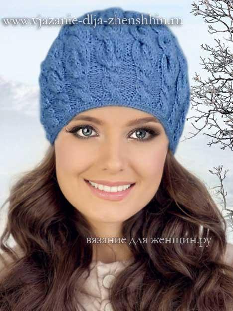Вязание спицами шапочки для женщин